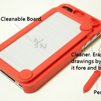 Cute Erasable POCKET DRAWING Board+Note Pen new Hard Case Cover for iPhone 4 4S