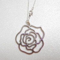Silver Rose Necklace - Big Rose Pendant with Silver Plated Chain - Romantic Jewellery