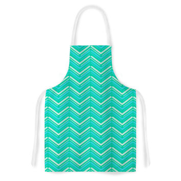"CarolLynn Tice ""Symetrical"" Teal Turquoise Artistic Apron"