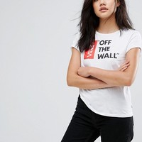 Vans Off The Wall Logo T-Shirt In White at asos.com