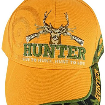 Born To Hunt, Hunt to Live Orange Adjustable Baseball Hat Cap with Bullseye, Crosshairs, Deer Antlers, Rack, and Rifle