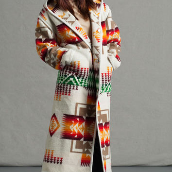 Indian Blanket Long Coat, Chief Joseph Ivory, Pendleton® Wool Coat