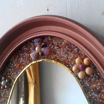 Oval Mosaic Mirror, Glass and Seed Beads, Rose Gold Oval Frame and Oval Mirror, Decorative Wall Mirror, Home Accents