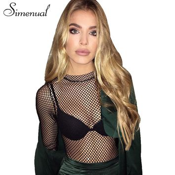 Simenual Streetwear mesh bodysuit women see through sexy hot fitness body party jumpsuits slim fashion bandage bodycon bodysuits