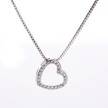 New Arrival Shiny Gift Jewelry 925 Silver Simple Design Design Diamonds Box Fashion Stylish Necklace [8026162631]
