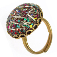 1950s Vintage Ring, Confetti Lucite, Glitter Lucite, Free Shipping