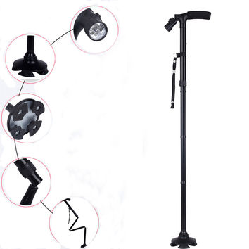 T-type Adjustable Handle Folding Smart Cane With LED Lights Black Walking Stick for Old Perpon Popular Sell in the Middle East