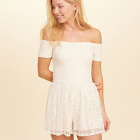 Girls Smocked Off-The-Shoulder Lace Romper | Girls New Arrivals | HollisterCo.com