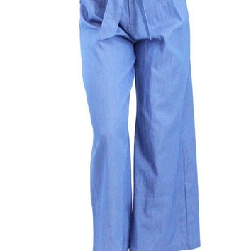 Pleated Tie-Waist High-Rise Wide Leg Jeans