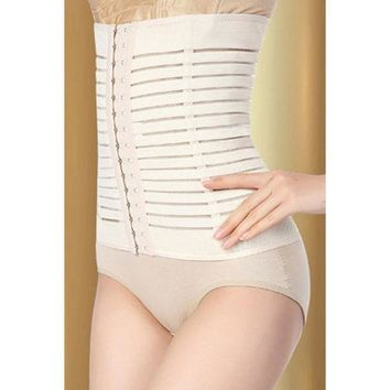 Waist Shaper Body Sexy Elastic Stripes Pattern Permeable Slim High Rise Pants Corset [4965383236]