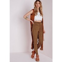 Faux Suede High Waist Leggings Tan - Faux - Suede - Trousers - Missguided