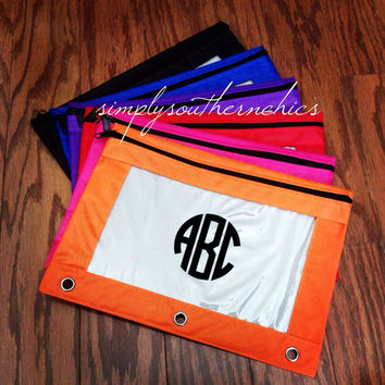 Monogrammed Binder Pouch ~ Pencil or Pen Pouch