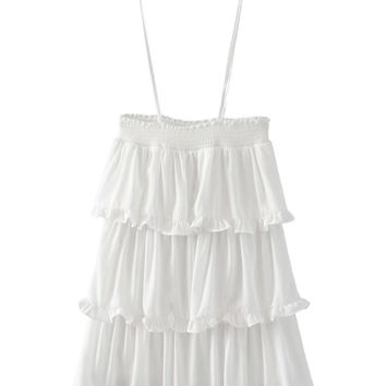 White Layered Ruffle Tie Shoulder Cami Dress
