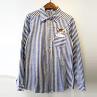 Long Sleeve Blue Striped Cat Embroidered Pocket Shirt