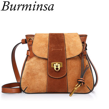 Burminsa Spring Flap Saddle Crossbody Bags Causal Lock Small Cow Genuine Leather Shoulder Bags Famous Brand Women Messenger Bags