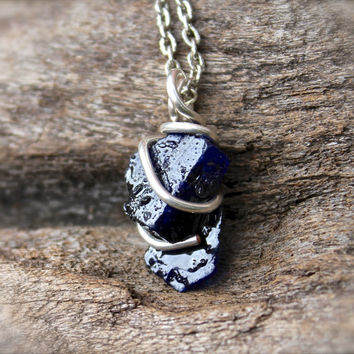 Rough Sapphire Necklace, Raw Stone from Gypsy Gems Hawaii ...Unpolished Sapphire Necklace