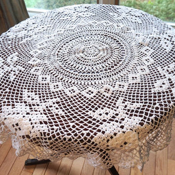 "Vintage 34"" Crocheted Tablecloth,White Doily,Small Round Tablecloth,Vintage Crochet Doily,Crochet Centerpiece or Table Topper,Vintage Linens"