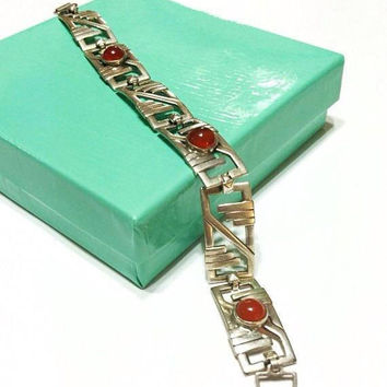 Sterling and Carnelian Bracelet, Art Deco Style Bracelet, Southwestern Style, Contemporary Linear Geometric Profile, Vintage Jewelry