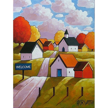 PAINTING ORIGINAL Folk Art Abstract Fall Town Road Cottages Modern Autumn Landscape Colorful Artwork by Cathy Horvath Buchanan 12x16