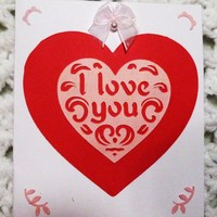 I Love You Red Handmade Greeting Card,3.75