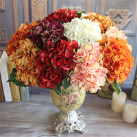 2016 Hot Sale Wine Red Rose Autumn Vintage Artificial Silk Peony Flower Bouquet Room Hydrangea Wedding Hold Flowers Home Decor