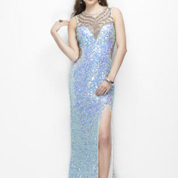 Fully sequined gown with a high sheer neck line and back covered in a unique pattern of beading. Features a high slit.