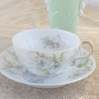 Limoges Theodore Haviland France Tea Cup and Saucer, Shabby Chic, Cottage Chic, Wedding, Tea Party, Housewarming Gift , Antique