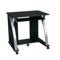 Office Star Saturn Collection Computer Cart in Black with Silver