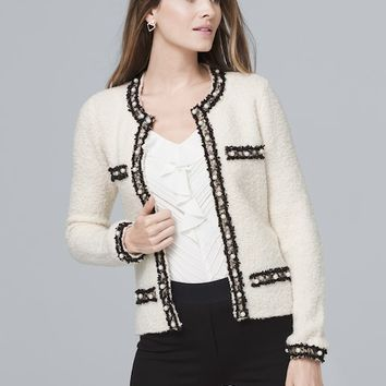 White House Black Market Faux Pearl-Detail Sweater Jacket