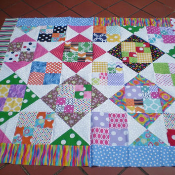 Unfinished Quilt top-Scrap quilt top-Unfinished baby quilt top,quilt top,lap quilt,bright colored scrap quilt top,quilttop,Patchwork Picnic
