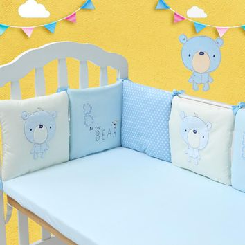 Baby Bed Bumper Toddler Crib Protector Cartoon Bear Embroidered High Quality Cotton Crib Bumper Infant Bedding Set Baby Bumper