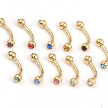 ac DCCKO2Q 10pcs Fashion Random Mix Crystal Eyebrow Rings Gold Stainless Steel Lip Labret Eyebrow Ring For Women Men Body Piercing Jewelry