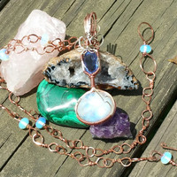 "24"" handmade copper necklace w Sri Lanka moonstone and a stunning 3"" pendant w a 6.50ct natural color change fluorite and moonstone cabochon"
