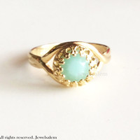 Gold Aquamarine Ring Gift Turquoise Ring Mint Ring Antique Filigree Swarovski Crystal Jewelry Modern Victorian Rustic Vintage Style