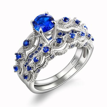 1.3 Ct Sapphire Blue & Clear Cz Sterling Silver Wedding Engagement Ring Set