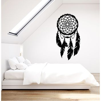 Vinyl Wall Decal Dreamcatcher Feathers Talisman Amulet Bedroom Ethnic Decor Stickers Mural (g928)