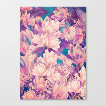 flowers magnolia #flowers #flora #pattern Canvas Print by jbjart