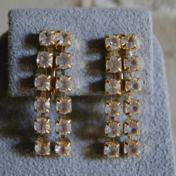Vintage Gold Tone TRIFARI Clip On Drop Earrings With Two Strands Of Rhinestones 1960s
