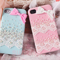 iPhone 4 case, iPhone 4 cover, iPhone 5 case, cute iPhone 5 case, Cute iPhone 4 case Lace, iPhone 5 pearl case bow, crystal iPhone case