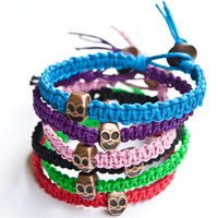Skull Bracelet Hemp Friendship Colorful