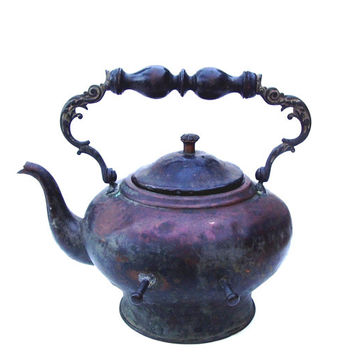 Antique Copper Kettle Ornate Cast Iron Handle Teakettle