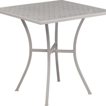 28'' Square Indoor-Outdoor Steel Patio Table (Multiple Colors)