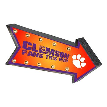 Clemson Tigers Sign Marquee Style Light Up Arrow Design