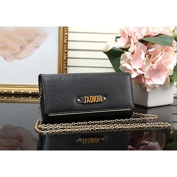 DIOR Trending Ladies Shopping Leather Metal Chain Single Shoulder Bag Satchel Crossbody Black I-MYJSY-BB