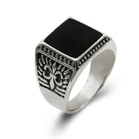 New Fashion Antique Silver Plated Unisex Punk Style Luxury Square Shaped Vintage Rings for Men Fine Jewelry Bohemian Anel