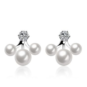 Chic Double Side Simulated Pearl Ear Jacket Earrings Fashion Brinco Cute silver Plated Jewelry Brincos de Prata