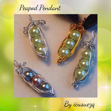 Handmade Wire Wrapped Pea Pod Pendant Necklace - Peapod necklace  Mothers Pendant - Pink Girl - Blue Boy - customize colors-birthstone