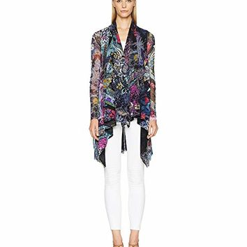 FUZZI Long Floral Patch Cardigan