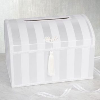 White Striped Wedding Card Holder Box 10in x 14in | Party City