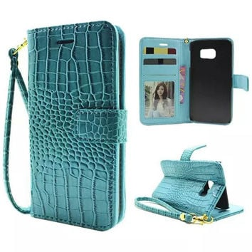 Lanyard Flip Cover Wallet Case For Samsung Galaxy S7 G9300/ S7 Edge S7Edge G9350 Pouch Croc PU Leather Luxury Phone Bag Case